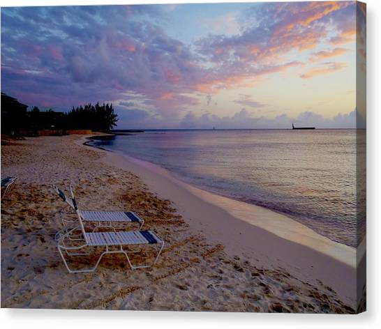 Conch Shells Canvas Print - Seven Mile Beach Sunset by Carey Chen