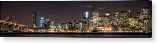 Sfo At Nite Canvas Print by Gary Rose