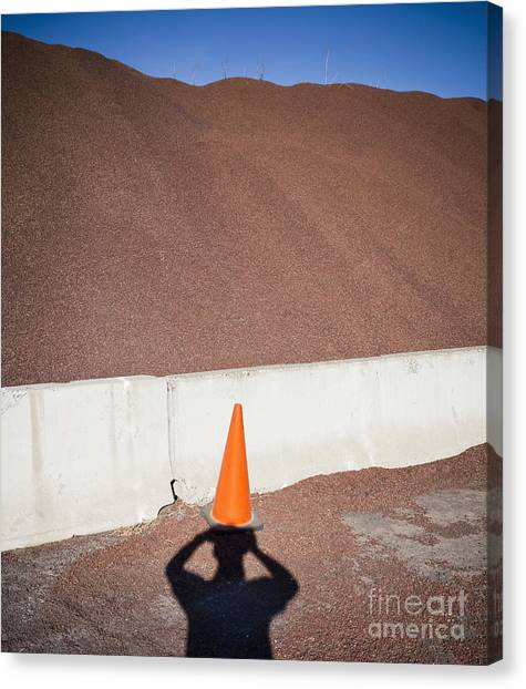 Orange Canvas Print - Shadow Of A Photographer Taking Picture by Paul Edmondson