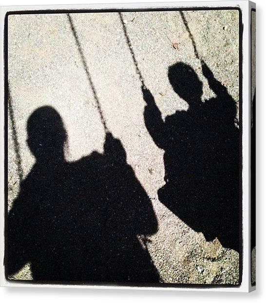 Swing Canvas Print - #shadow #swing #kids #play by Jennifer OHarra