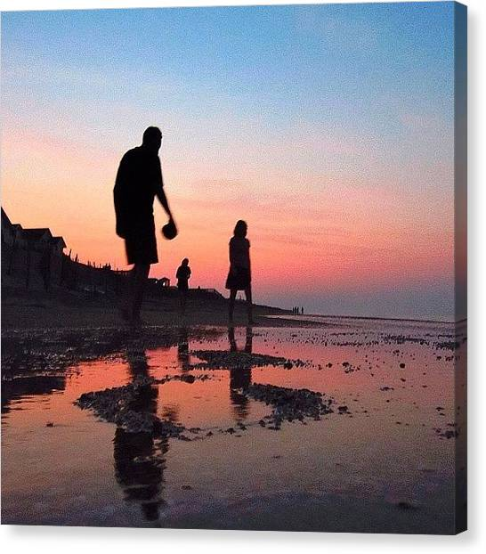 Beach Sunsets Canvas Print - Shadows And Silhouettes by Drew R