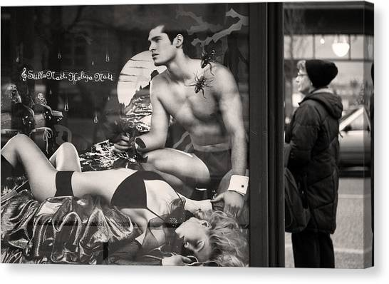 Placard Canvas Print - Shame On You Two...stockholm by Stelios Kleanthous