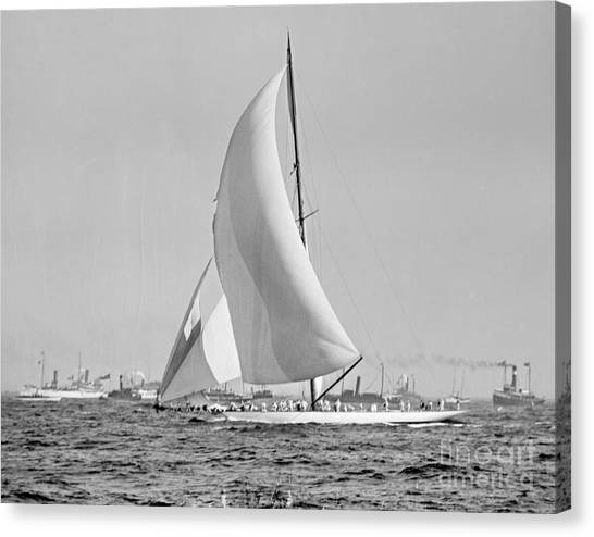 New york yacht club canvas print shamrock iii at the americas cup finish 1903 by