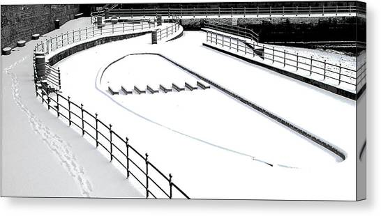 Shapes In The Snow Canvas Print by Barry Hayton