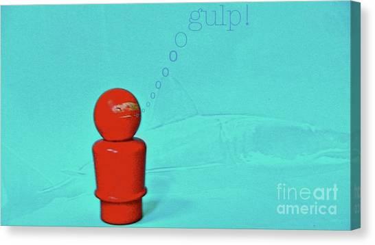 Shark Diver Canvas Print