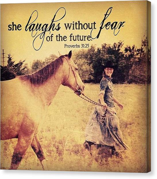 Inspirational Canvas Print - she Is Clothed With Strength And by Traci Beeson