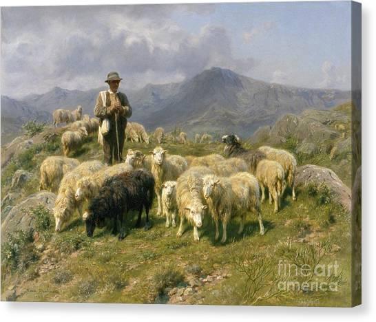 Livestock Canvas Print - Shepherd Of The Pyrenees by Rosa Bonheur