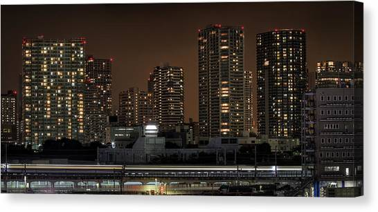 Bullet Trains Canvas Print - Shinagawa Skyline At Night by Photography by Sandro Bisaro