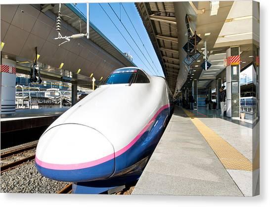 Bullet Trains Canvas Print - Shinkansen At Tokyo Station by U Schade