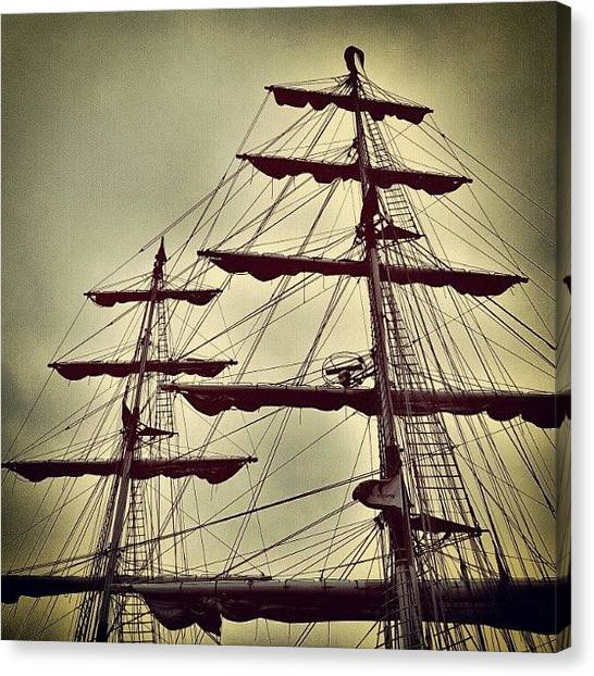 Norfolk Canvas Print - Ship Sales #sales #sky #clouds #wood by Invisible Man