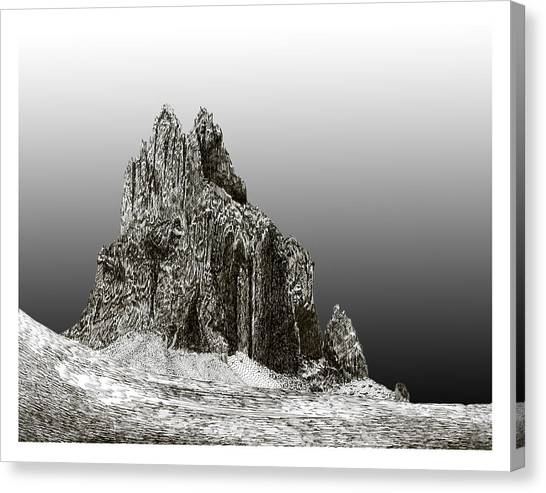 Pen And Ink Drawing Canvas Print - Shiprock Mountain Four Corners by Jack Pumphrey
