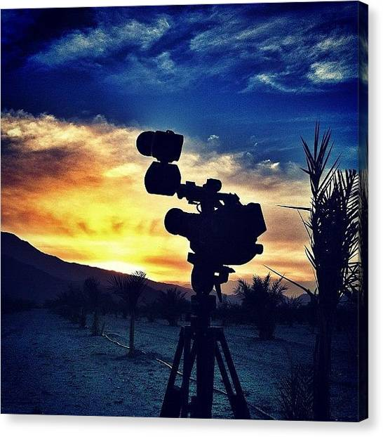 Palm Trees Sunsets Canvas Print - Shooting A Time Lapse Out In The by Loghan Call