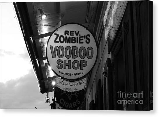 Rev Zombies Canvas Print - Shop Signs French Quarter New Orleans Black And White by Shawn O'Brien