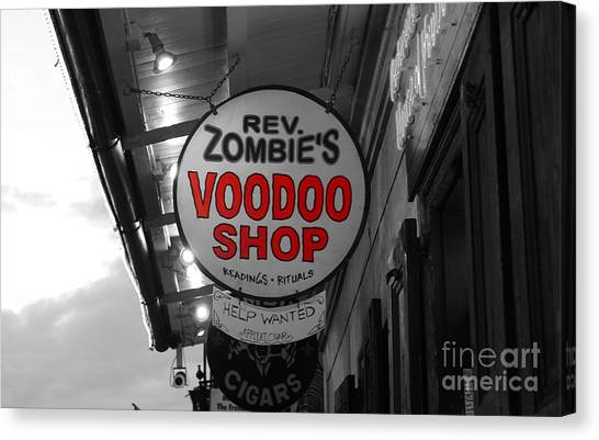 Rev Zombies Canvas Print - Shop Signs French Quarter New Orleans Color Splash Black And White by Shawn O'Brien