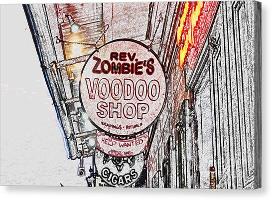 Rev Zombies Canvas Print - Shop Signs French Quarter New Orleans Colored Pencil Digital Art by Shawn O'Brien