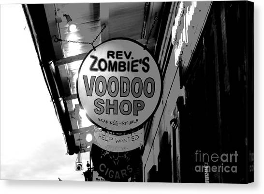 Rev Zombies Canvas Print - Shop Signs French Quarter New Orleans Conte Crayon Digital Art by Shawn O'Brien