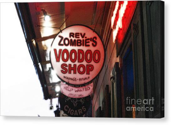 Rev Zombies Canvas Print - Shop Signs French Quarter New Orleans Diffuse Glow Digital Art by Shawn O'Brien