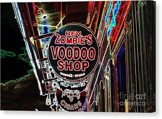 Rev Zombies Canvas Print - Shop Signs French Quarter New Orleans Glowing Edges Digital Art by Shawn O'Brien