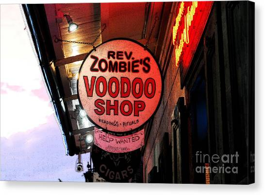 Rev Zombies Canvas Print - Shop Signs French Quarter New Orleans Ink Outlines Digital Art by Shawn O'Brien