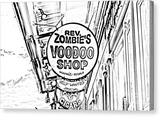 Rev Zombies Canvas Print - Shop Signs French Quarter New Orleans Photocopy Digital Art by Shawn O'Brien