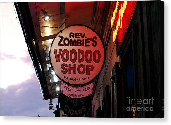 Rev Zombies Canvas Print - Shop Signs French Quarter New Orleans Watercolor Digital Art by Shawn O'Brien