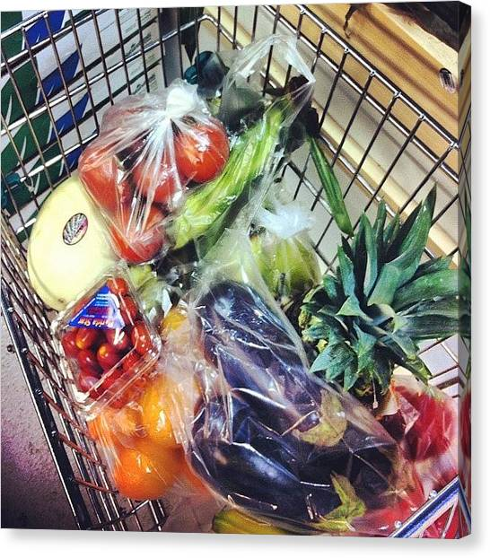 Juice Canvas Print - Shopping Cart Full Of Goodies #fruits by Marie Constant