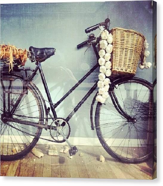 Onions Canvas Print - #shopwindows #bike #french #garlic by Christelle Vaillant