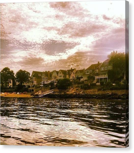 Kayaks Canvas Print - Shore Of The Long Island Sound #kayak by Doug Moran