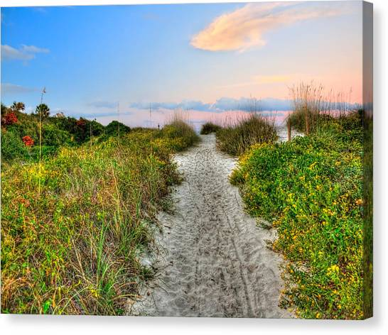 Shoreline Path To View Morris Island Lighthouse Canvas Print by Jenny Ellen Photography