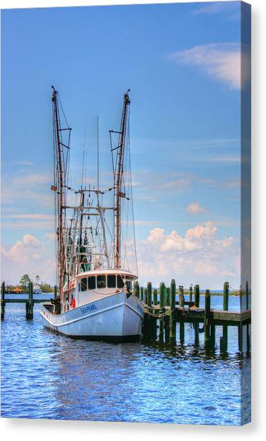 Shrimp Boat At Dock Canvas Print by Barry Jones