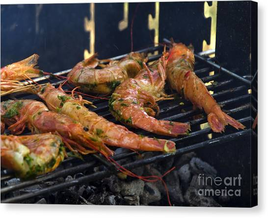 Shrimp On Bbq Canvas Print by Perry Van Munster