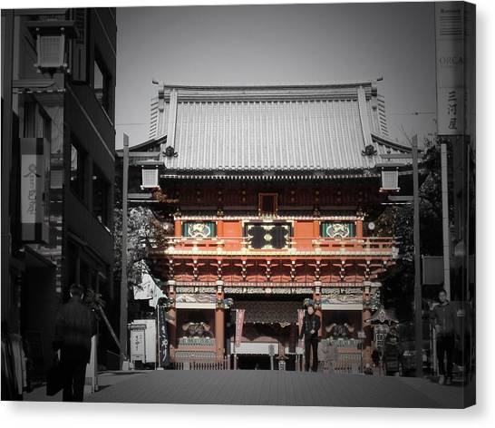 Monks Canvas Print - Shrine In Tokyo by Naxart Studio