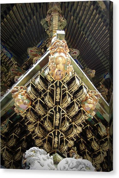 Golden Temple Canvas Print - Shrine Roof Detail by Naxart Studio