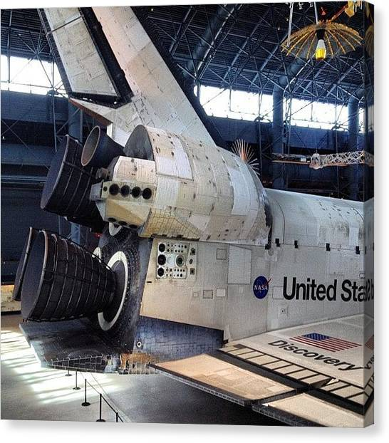Space Shuttle Canvas Print - #shuttle #discovery Now With Flight by Simon Prickett