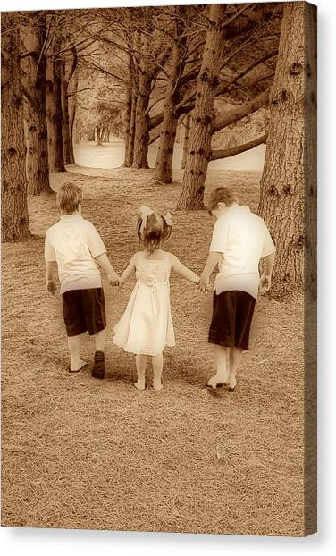 Siblings Taking A Walk Canvas Print by Trudy Wilkerson