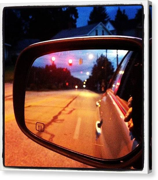 Stoplights Canvas Print - #sidemirror  #stoplight #rearview by Kris Cox