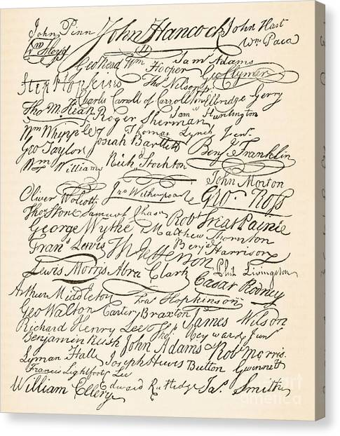 Independent Canvas Print - Signatures Attached To The American Declaration Of Independence Of 1776 by Founding Fathers