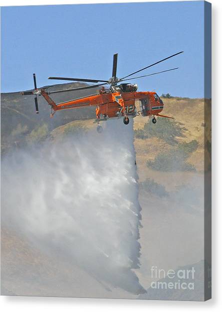 Skycrane Canvas Print - Sikorski S-64 Helicopter Waterdrop by Kenny Bosak