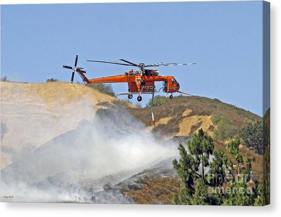 Skycrane Canvas Print - Sikorski Skycrane Firefighting Helicopter by Kenny Bosak