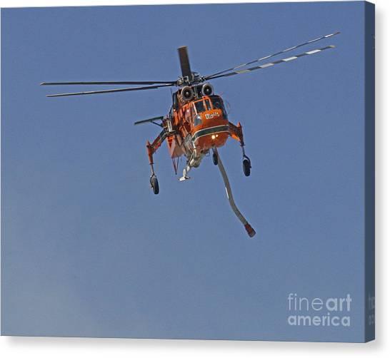 Skycrane Canvas Print - Sikorsky S-64 Skycrane Firefighting Helicopter by Kenny Bosak