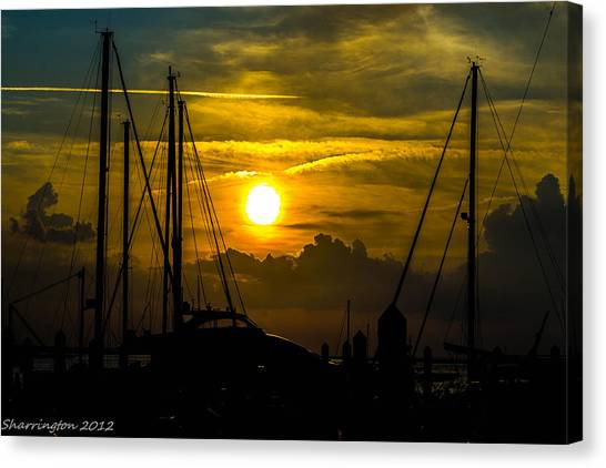 Silhouettes At The Marina Canvas Print