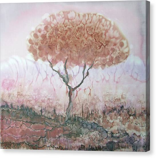 Silk Tree In Brown And Purple  Canvas Print