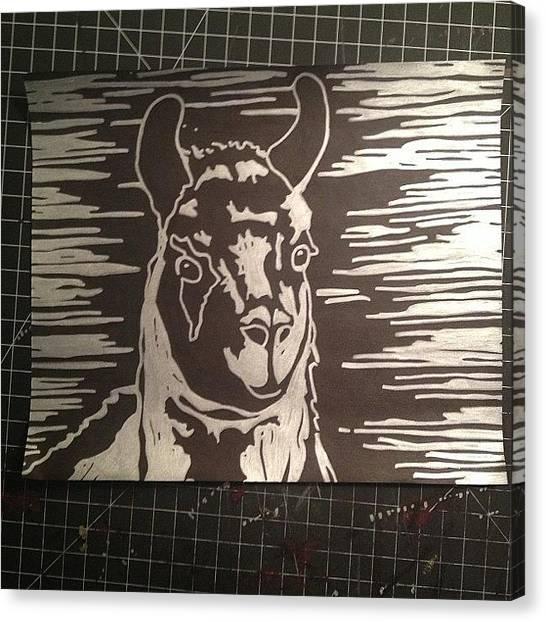 Llamas Canvas Print - #silver #llama Art. Da Bomb by Kendall Traylor