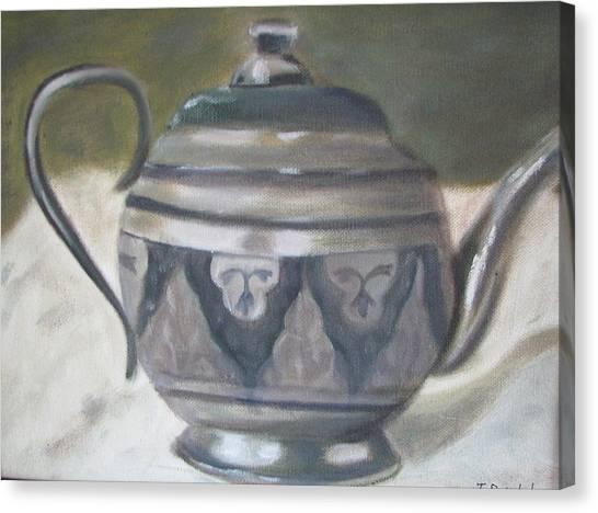 Silver Tea Kettle Canvas Print by Iris Nazario Dziadul