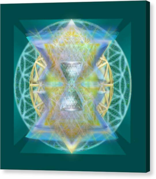 Silver Torquoise Chalice Matrix Subtly Lavender Lit On Gold N Blue N Green With Teal Canvas Print