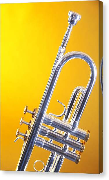 Trumpets Canvas Print - Silver Trumpet Isolated On Yellow by M K  Miller