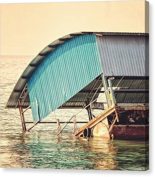 Reef Sharks Canvas Print - Sinking Houseboat, Lumut, Malaysia by Manan Din
