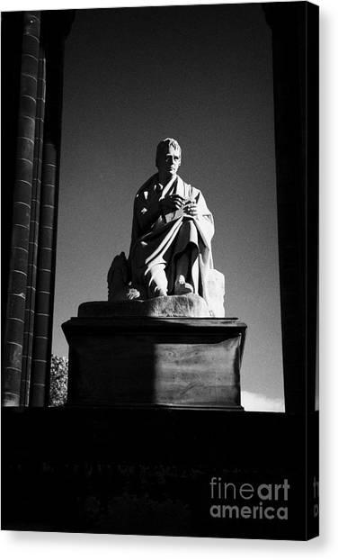 Sir Walter Scott Statue Inside The Monument On Princes Street Edinburgh Scotland Uk United Kingdom Canvas Print by Joe Fox