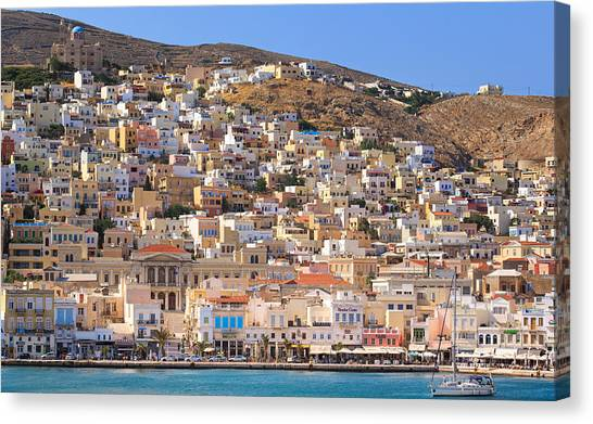 The Parthenon Canvas Print - Siros Greece 2  by Emmanuel Panagiotakis