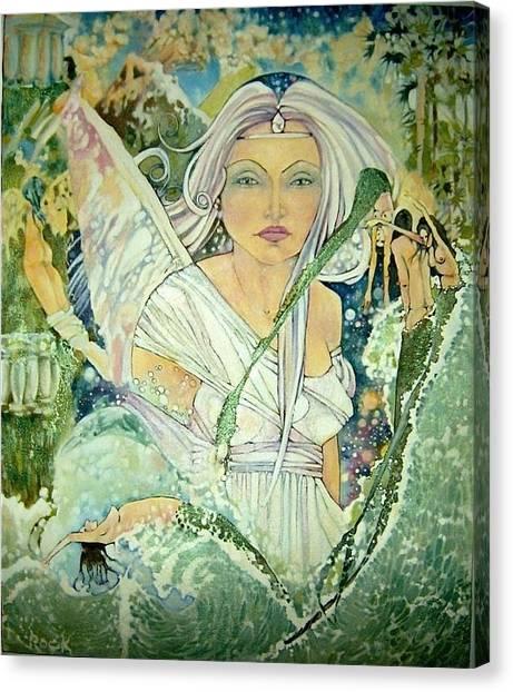 Angel Mermaids Ocean Canvas Print - Sister Angel by Jackie Rock